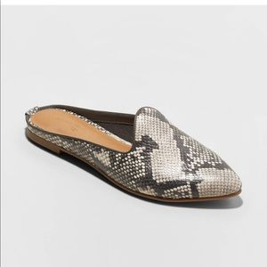 Faux Leather Snake Printed Mules